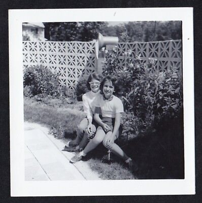 Vintage Antique Photograph Two Adorable Little Girls Sitting in the Garden