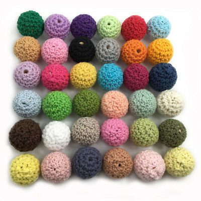 50Pcs Crochet Wood Beads DIY Teething Jewelry Chew Necklace Teether Making