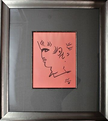 Jean Cocteau Original Drawing / Sketch On Paper Portrait Circa 1950's Framed