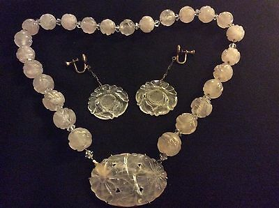 Vintage Chinese Carved Rose Quartz Necklace &14k.Pendant w.Rock Crystal Earrings