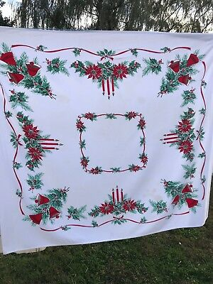 Vintage White With Red & Green Poinsettias & Candles Christmas Tablecloth