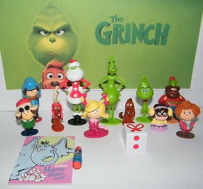 Dr. Seuss The Grinch Movie Figure Set of 14 w/ 12 Figures, Fun Book and Eraser