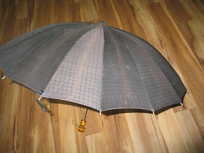 Vintage 1950s 1960s Umbrella Brown / Mid Century / Carved Amber Lucite Handle