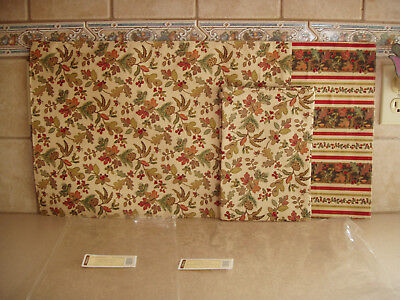 Longaberger Autumn Path / Stripe Reversible Placemats & Aut Path Napkin Set Np