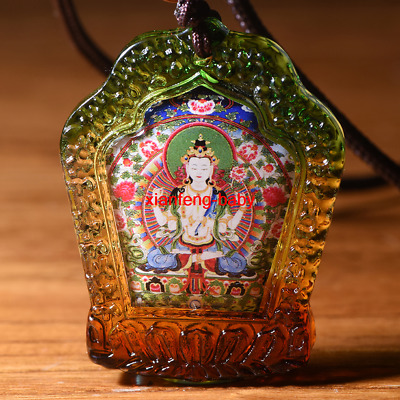 Buddha Statue Pendant  Mandala Four armed  Necklace Amulet  Blessed Buy 2 Get 1