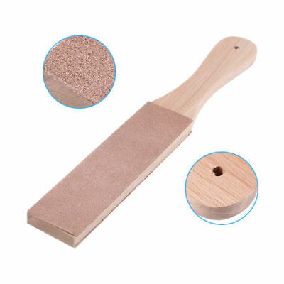 Wooden Handle Leather Craft Polish Sharpening Strop Sharpener Craft Double Sided