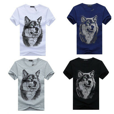 UK Seller Men's O Neck Wolf Head Summer Tees Casual Tops Shirts Blouse T-shirt