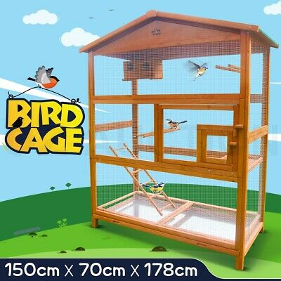 Large Bird Cage Wooden Pet Parrot Aviary Budgie Canary Cockatoo Perch House