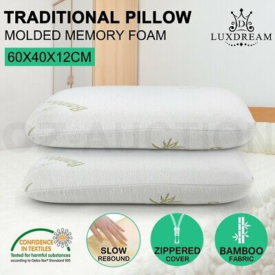 2x Luxury Molded Memory Foam Pillow Queen Size Bamboo Fabric Cover Bedroom