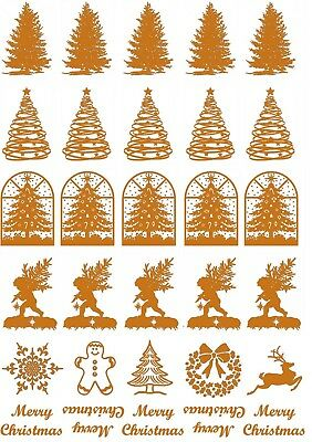 """Christmas Tree 30 pcs 7/8"""" Gold Fused Glass Decals 5"""" X 3-1/2"""" Card 18CC1039"""