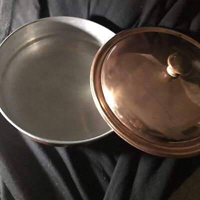 Vintage Copper Cookware Frying Pan With Lid & Carved Wooden Handle