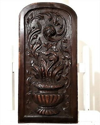 Scroll leaves panel Solid antique french hand carved wood architectural salvage