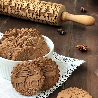 Christmas Embossing Rolling Pin Wooden Xmas Tree Roller for Baking Cookie Cake^^