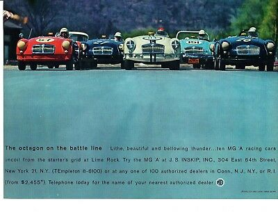 1960 Mg Mga 1600 @ Lime Rock ~ Nice Original Print Ad
