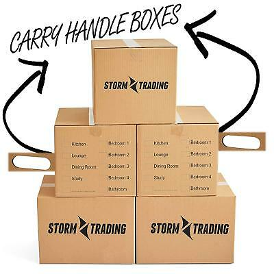 "10 Large Printed Cardboard Removal Storage Boxes 20 x 13 x 13"" With Handles"