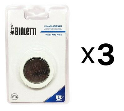 Bialetti Replacement Gasket Filter For 4 Cup Espresso Makers New (3-Pack)