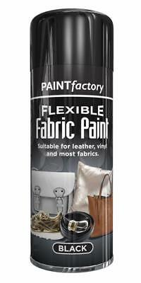 x6 Black Fabric Spray Paint Leather Vinyl & Much More, Flexible 200ml 5 Colours