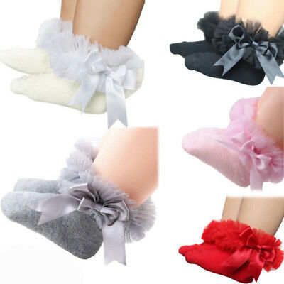 Baby Girls Ribbed Knee Length Tutu Socks With Spanish Satin Organza Lace & Bow
