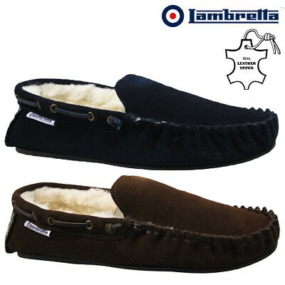 5c72c359fa23 Mens Lambretta Moccasins Slippers Loafers Suede Sheepskin Fur Winter Shoes  Size