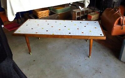 FAB Vintage Mid Century Danish Modern Mosaic Tile Coffee Table W/ Tapered Legs