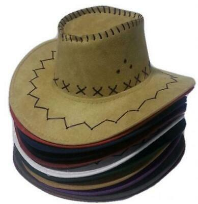 100Pz Cappello Cowboy Cowgirl Scamosciato Festa Party Cappelli Country Western