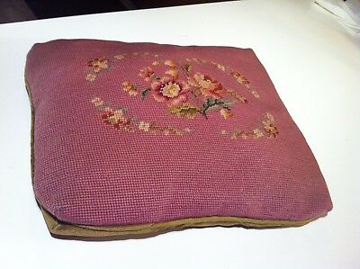 Vintage Antique Needlepoint Tapestry Pillow, Floral Burgundy Olive Green