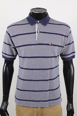 eece523797 Tommy Hilfiger Mens Navy Striped Polo Short Sleeve Shirt Size Medium