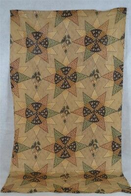chintz cheater glazed cotton fabric remnant brown tan 18th 19th c antique