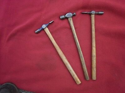 3 X Old Pin Hammers-1 X Ball--Carpenters Old Hand Tools