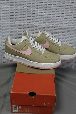 2001 NIKE AIR FORCE 1 LOW LINEN ATMOSPHERE PINK TAN WHITE 630117 261 Size 8