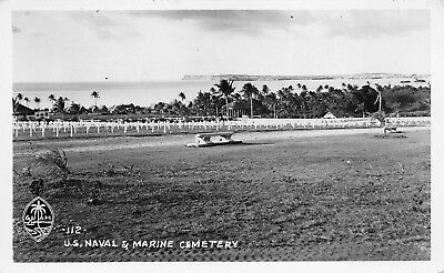 GUAM 1940s RPPC Real Photo Postcard US Naval & Marine Cemetery