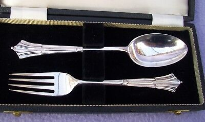 Edwardian Solid Silver Albany Pattern Christening Set - London 1902/3 - Wh&s