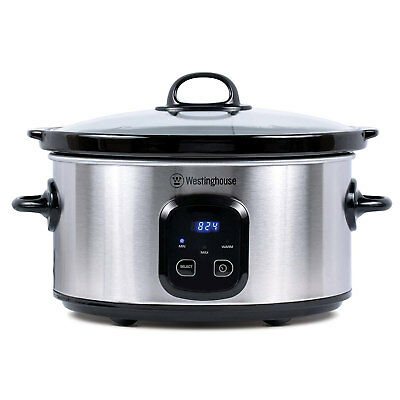 Westinghouse WSCD701S 7 Quart Oval Stainless Steel Digital Slow Cooker, Silver