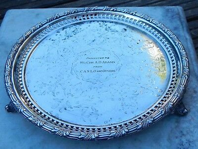 Antique John Dixon & Sons Silver Plate Footed Card Tray~R.a.f Inscription