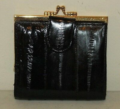 Unused Vintage BLACK Genuine EEL SKIN Bi-fold WALLET w/Coin Purse