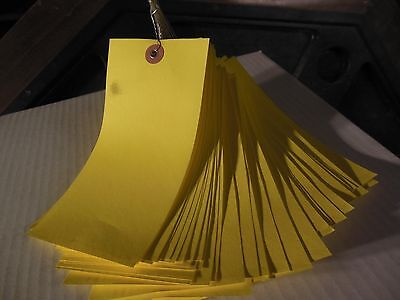 """4000 Yellow wire strung tyvek shipping/Inventory tags 6.25"""" x 3.125""""  1000/case"""