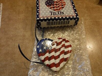 New In Box Longaberger All-American Flag Tie-On Pottery Heart #31551 w/ribbon
