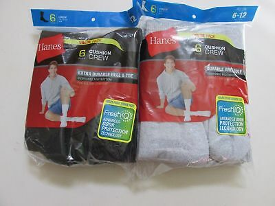 Hanes Men's 6 Pack Classics Crew Socks, Sock Size: 10-13 / Shoe Size: 6-12