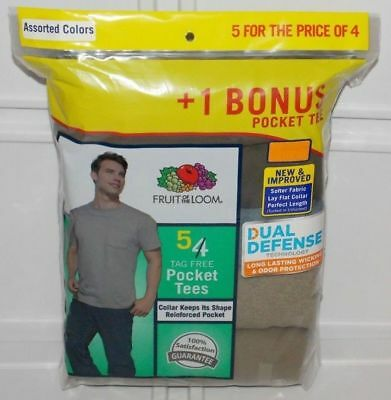 Fruit of the Loom Men's Pocket T-shirts Tees 5-pack Assorted Colors Sizes- M-XL