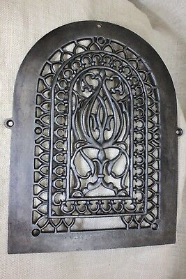 Arch old heat air grate register fancy decorated restored iron 1880's vintage
