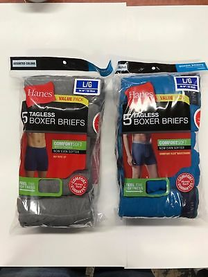 Hanes Tag less Boxer Briefs 10 Pack Mens Assorted Colors & Bands!!