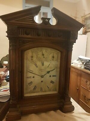 Double fusee bracket clock musical 9 bells with matching bracket by  j c  jennen