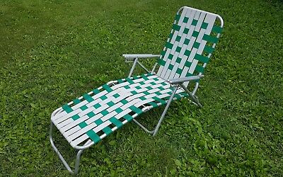 Vintage Aluminum Chair Folding Lawn Chaise LOUNGE Reclining Webbing Patio