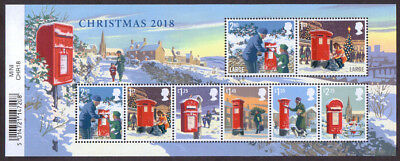 GB 2018 Christmas u/m mnh stamp miniature sheet Post Boxes in the snow