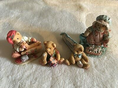 Cherished Teddies Lot of 4: 912905 141127 951005 626074 Used but Mint condition