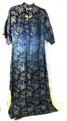 Vintage 1940s Label Royal Hawaiian CHINESE DRESS Blue size 14 Long lined yellow