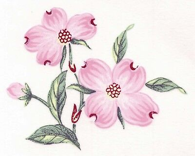 "Pink Dogwood Flower Gold Accents 6 pcs 2"" Waterslide Ceramic Decals Xx"