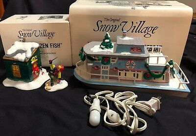 Original Snow Village Fresh Frozen Fish & Jingle Belle Houseboat Dept 56 Set Lot