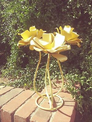 "14"" Vintage Yellow Rose Metal Stand Mexican Yard Art Flower Stand Garden MCM"