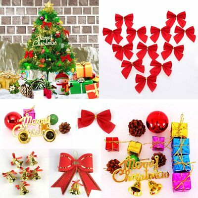 Xmas Tree Hanging Ornament Decoration Bell Bow Gift Package For Christmas Party